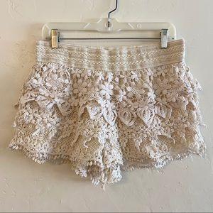No Boundaries Cream Crochet Layered Shorts XL